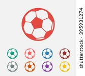 set of  red football vector icon