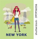 fashion illustration  new york... | Shutterstock .eps vector #395956036