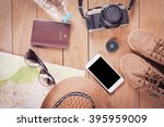 preparation for travel trip... | Shutterstock . vector #395959009