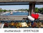 Love Locks On Paris Bridge Pon...