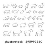 line set of domestic  farm and... | Shutterstock . vector #395993860