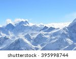 view from ski slopes. caucasus... | Shutterstock . vector #395998744