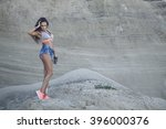 beautiful young athletic girl... | Shutterstock . vector #396000376