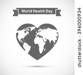 Earth Map On Heart. World...