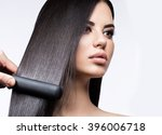 beautiful brunette girl with a... | Shutterstock . vector #396006718