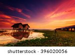 abandoned house with evening... | Shutterstock . vector #396020056