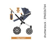sitting stroller. baby carriage.... | Shutterstock .eps vector #396026764