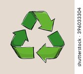 green vector recycling sign... | Shutterstock .eps vector #396033304