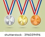 gold  silver and bronze medals. ... | Shutterstock .eps vector #396039496