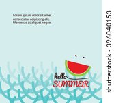 watermelon in the sea  beach   Shutterstock .eps vector #396040153