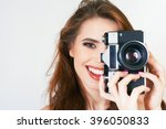 image of cute girl make a photo ... | Shutterstock . vector #396050833