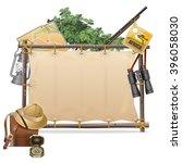 vector safari frame with canvas | Shutterstock .eps vector #396058030