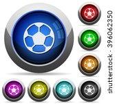 set of round glossy soccer ball ...