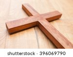 Wooden Cross On The Wooden...