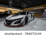 Small photo of New York City - 3/25/16 - At the New York International Auto Show, Acura displays their NSX race car.