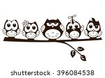 vector cute funny group of owl...