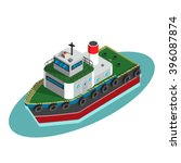 tugboat at sea.flat  isometric... | Shutterstock .eps vector #396087874
