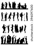silhouettes of party people on... | Shutterstock .eps vector #396097600