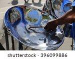 steel pan drum player with... | Shutterstock . vector #396099886