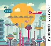 Futuristic City Scene. Vector...