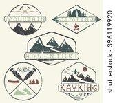 kayaking  camping climbing and... | Shutterstock .eps vector #396119920