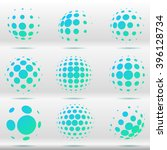 set of abstract dotted vector... | Shutterstock .eps vector #396128734