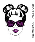 women face with sunglasses... | Shutterstock .eps vector #396157900