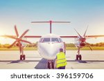 plane on tarmac in the airport  ... | Shutterstock . vector #396159706