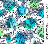 seamless pattern with feathers. ... | Shutterstock .eps vector #396166420