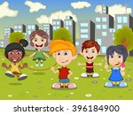 happy little kids playing on... | Shutterstock .eps vector #396184900