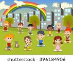 little kids playing in the city ... | Shutterstock .eps vector #396184906