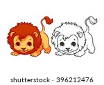 Stock vector cute little lion cartoon vector character isolated on a white background with black outline 396212476