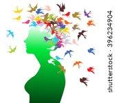 vector girl face side with bird ... | Shutterstock .eps vector #396234904