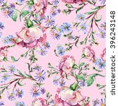 branch pink roses  blue flower  ...   Shutterstock . vector #396243148