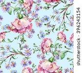 branch pink roses  blue flower  ... | Shutterstock . vector #396243154