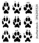 black print paws of fox  vector | Shutterstock .eps vector #396245524