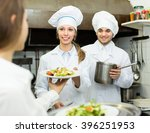 waitress taking dish from... | Shutterstock . vector #396251953