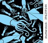 seamless wallpaper squid   Shutterstock .eps vector #396259144