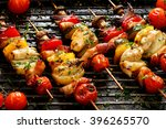 vegetable and meat skewers in a ... | Shutterstock . vector #396265570
