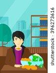man with globe full of money. | Shutterstock .eps vector #396273616