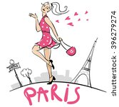 girl walking in paris.... | Shutterstock .eps vector #396279274
