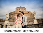 loving couple by the castel... | Shutterstock . vector #396287320