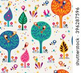 birds in the trees nature... | Shutterstock .eps vector #396287596