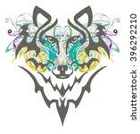 grunge wolf head. tribal wolf... | Shutterstock .eps vector #396292210
