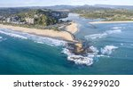 Aerial view of Currumbin Rock and beach, and surrounds. Gold Coast, Australia