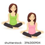 pregnant  woman practicing yoga ... | Shutterstock .eps vector #396300904