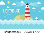 the lighthouse on island with... | Shutterstock .eps vector #396311770