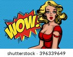 pop art surprised blond woman.... | Shutterstock .eps vector #396339649