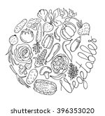 set of various doodles  hand... | Shutterstock .eps vector #396353020