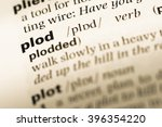 Small photo of Close up of old English dictionary page with word plod